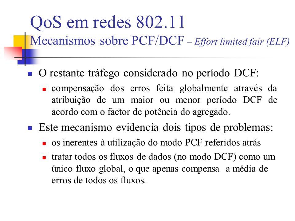 QoS em redes 802.11 Mecanismos sobre PCF/DCF – Effort limited fair (ELF) O restante tráfego considerado no período DCF: compensação dos erros feita globalmente através da atribuição de um maior ou menor período DCF de acordo com o factor de potência do agregado.