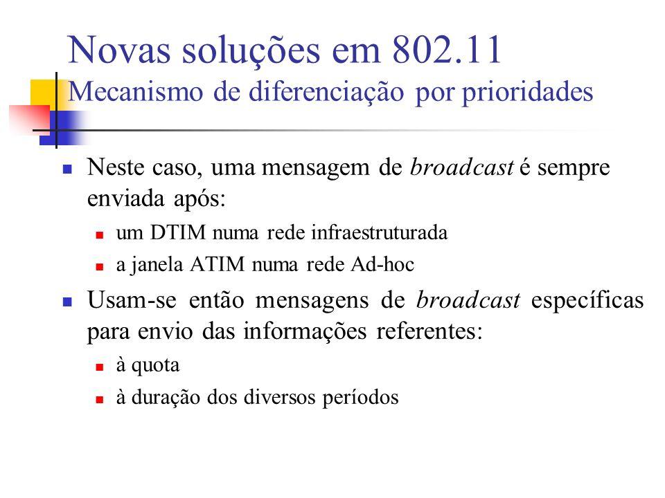 Novas soluções em 802.11 Mecanismo de diferenciação por prioridades Neste caso, uma mensagem de broadcast é sempre enviada após: um DTIM numa rede infraestruturada a janela ATIM numa rede Ad-hoc Usam-se então mensagens de broadcast específicas para envio das informações referentes: à quota à duração dos diversos períodos