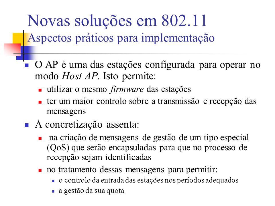 Novas soluções em 802.11 Aspectos práticos para implementação O AP é uma das estações configurada para operar no modo Host AP.