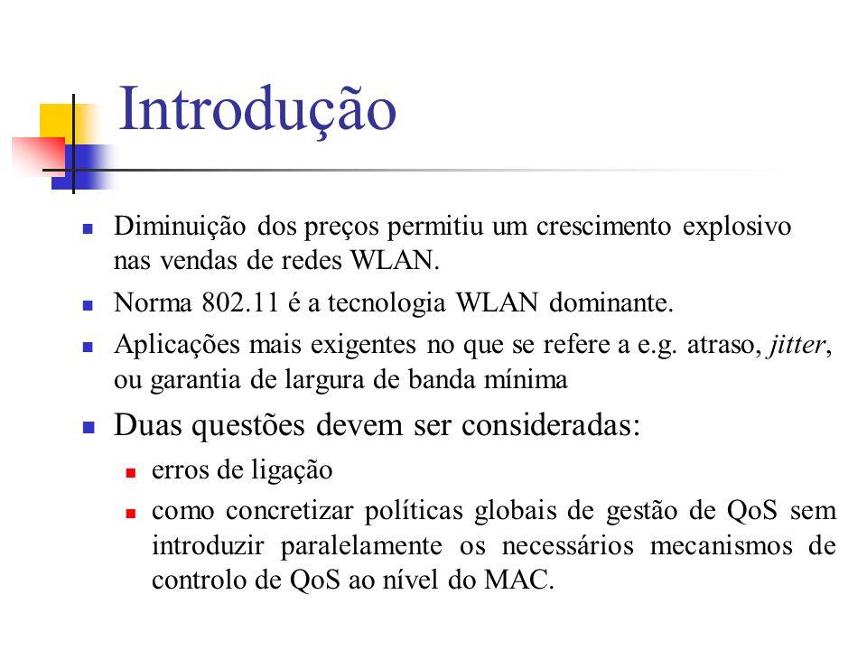 QoS em redes locais sem fios Evolução histórica – IEEE802.11 A especificação 802.11 original utiliza um MAC baseado na contenção e como tal não fornece mecanismos que satisfaçam requisitos de QoS.
