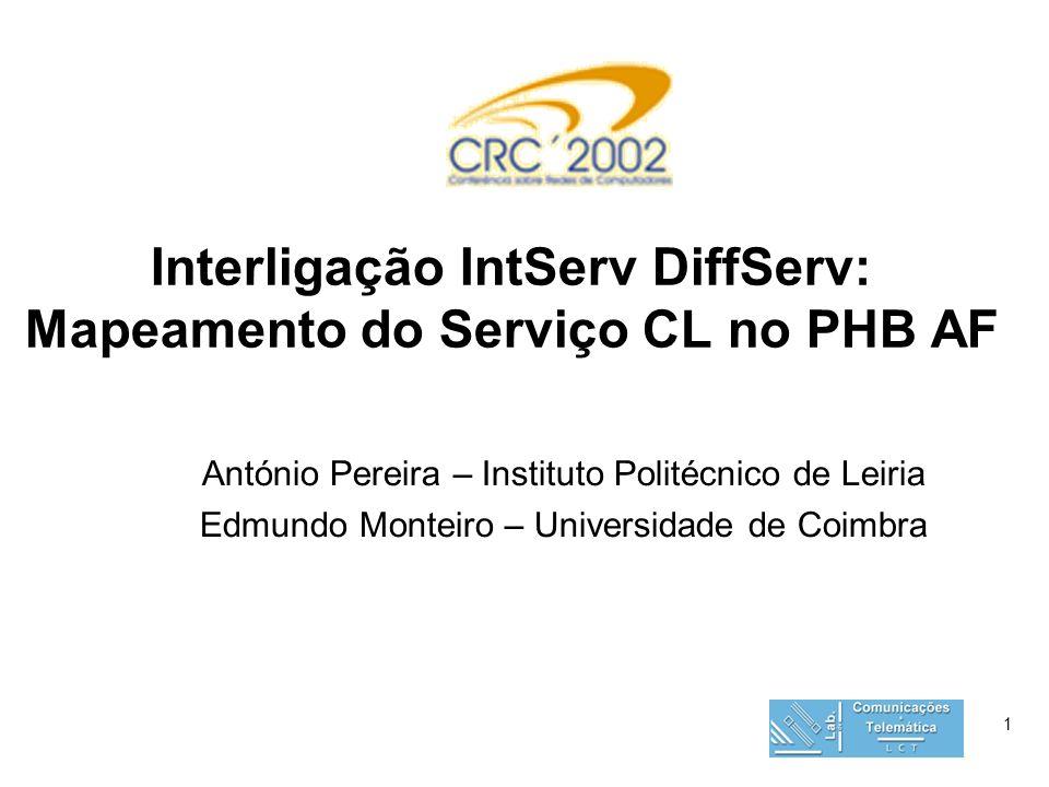1 Interligação IntServ DiffServ: Mapeamento do Serviço CL no PHB AF António Pereira – Instituto Politécnico de Leiria Edmundo Monteiro – Universidade