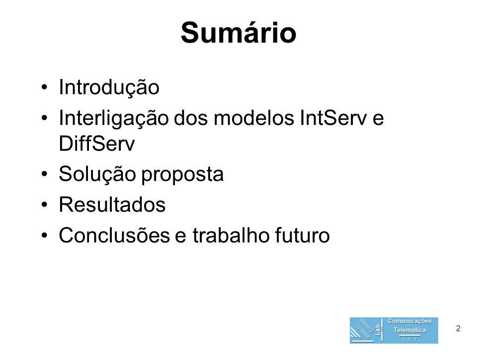 2 Sumário Introdução Interligação dos modelos IntServ e DiffServ Solução proposta Resultados Conclusões e trabalho futuro