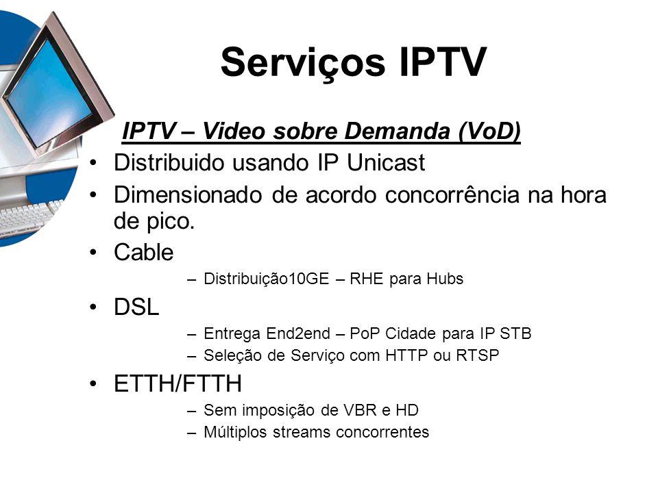 Serviços IPTV IPTV – Video sobre Demanda (VoD) Distribuido usando IP Unicast Dimensionado de acordo concorrência na hora de pico. Cable –Distribuição1