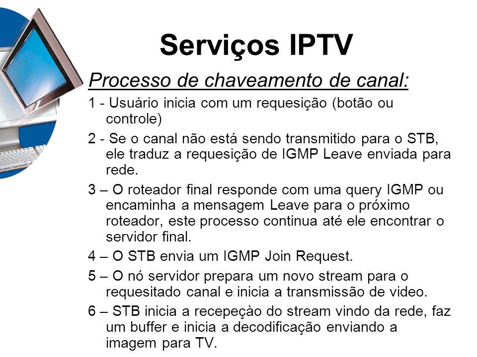 Serviços IPTV Processo de chaveamento de canal: 1 - Usuário inicia com um requesição (botão ou controle) 2 - Se o canal não está sendo transmitido par