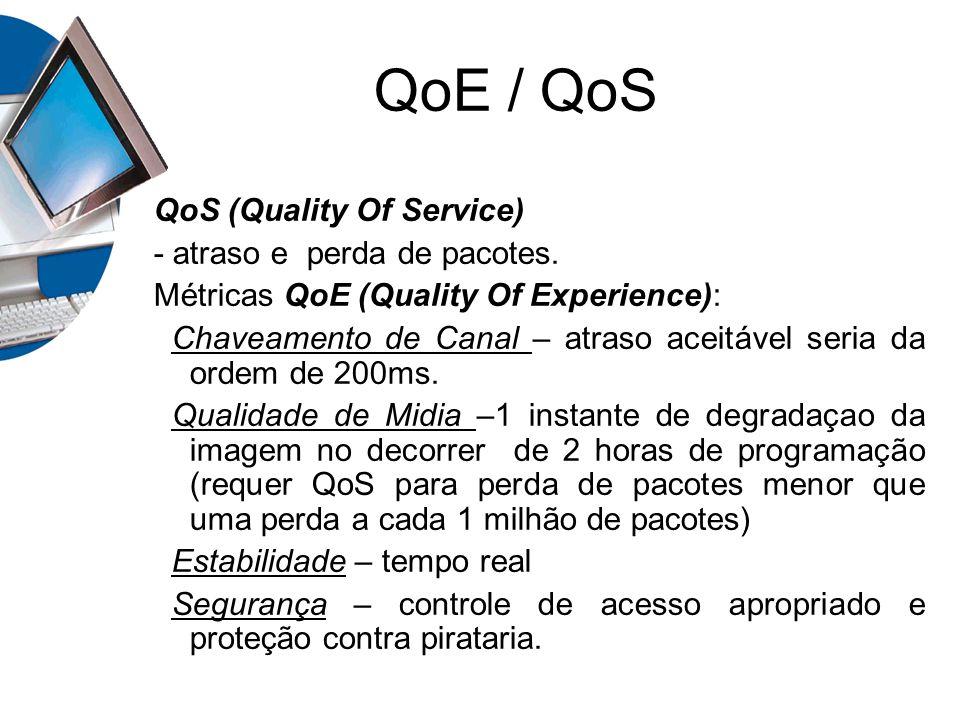 QoE / QoS QoS (Quality Of Service) - atraso e perda de pacotes. Métricas QoE (Quality Of Experience): Chaveamento de Canal – atraso aceitável seria da