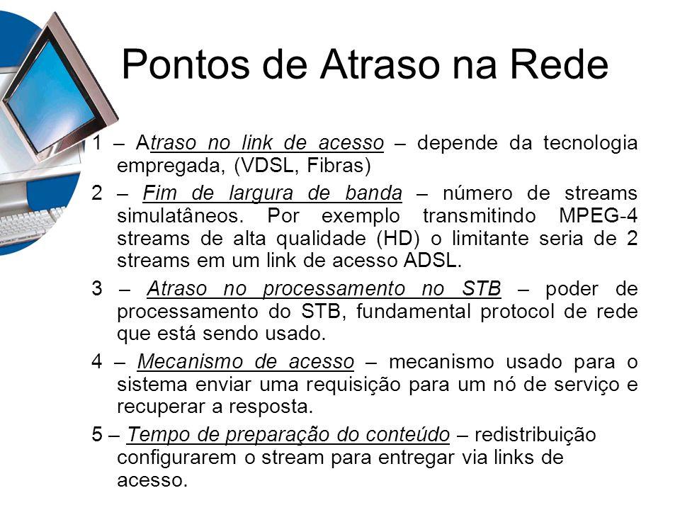 Pontos de Atraso na Rede 1 – Atraso no link de acesso – depende da tecnologia empregada, (VDSL, Fibras) 2 – Fim de largura de banda – número de stream