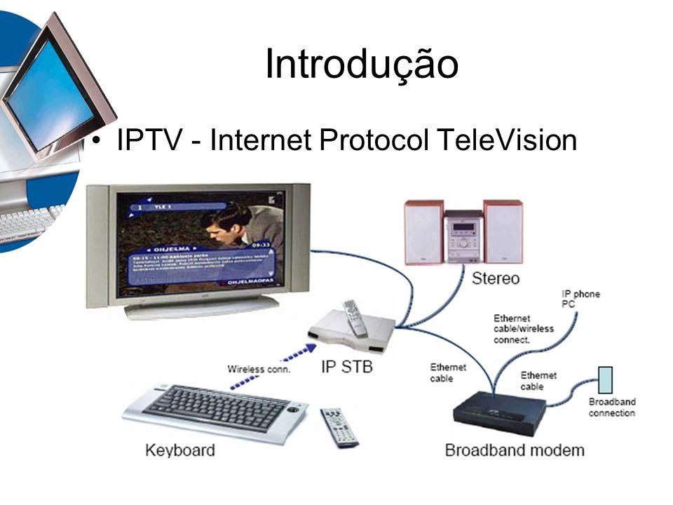 Introdução Baixo custo - devido ao aproveitamento da infraestrutura já existente; Flexibilidade – utilização da rede IP; Utilização de serviços integrados Conjunto de funcionalidades: Interatividade com a internet Personalização de acordo com o perfil do cliente Facilidades da TV convencional Controle de Acesso Gerenciamento de conteúdo Multiplas formas de transmissão Compressão de Video Digital MPEG