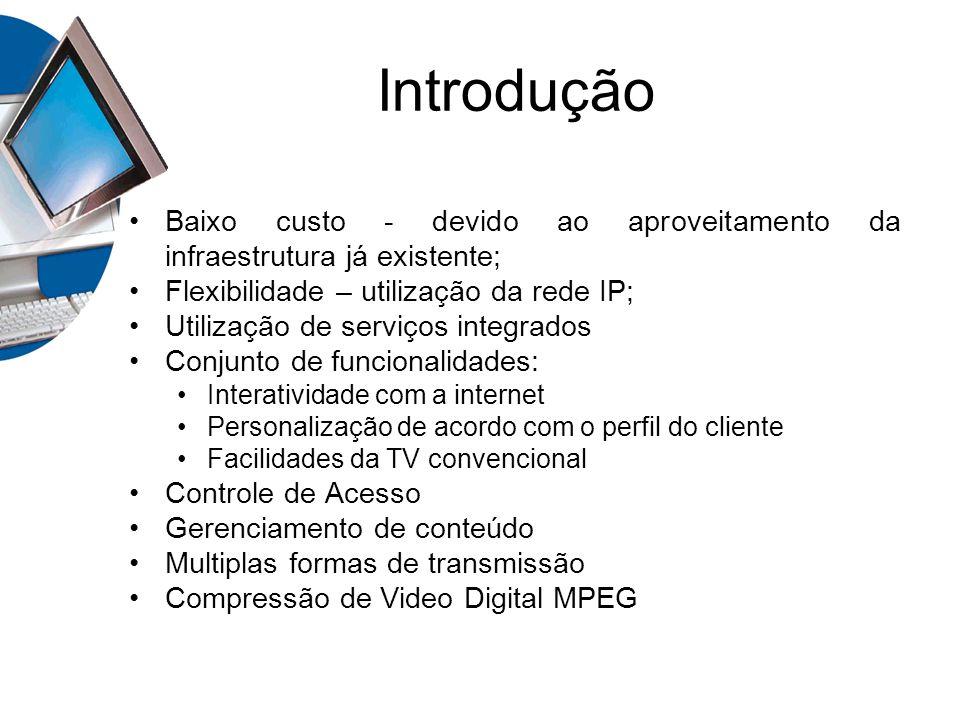 Introdução Baixo custo - devido ao aproveitamento da infraestrutura já existente; Flexibilidade – utilização da rede IP; Utilização de serviços integr