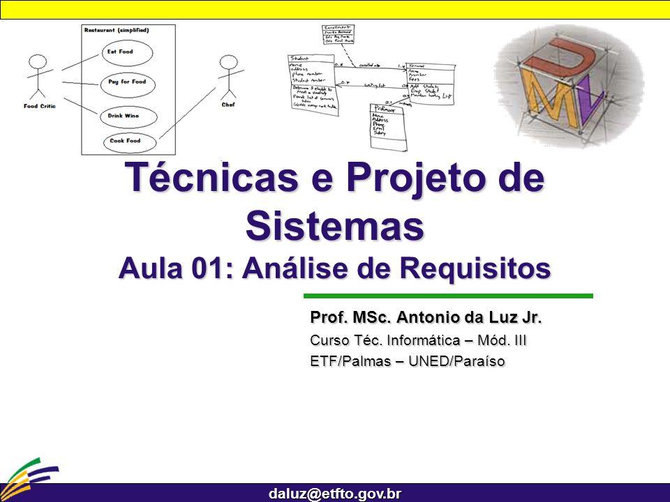 daluz@etfto.gov.br Técnicas e Projeto de Sistemas Aula 01: Análise de Requisitos Prof. MSc. Antonio da Luz Jr. Curso Téc. Informática – Mód. III ETF/P