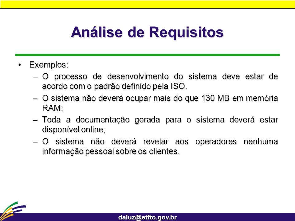 daluz@etfto.gov.br Análise de Requisitos Exemplos:Exemplos: –O processo de desenvolvimento do sistema deve estar de acordo com o padrão definido pela