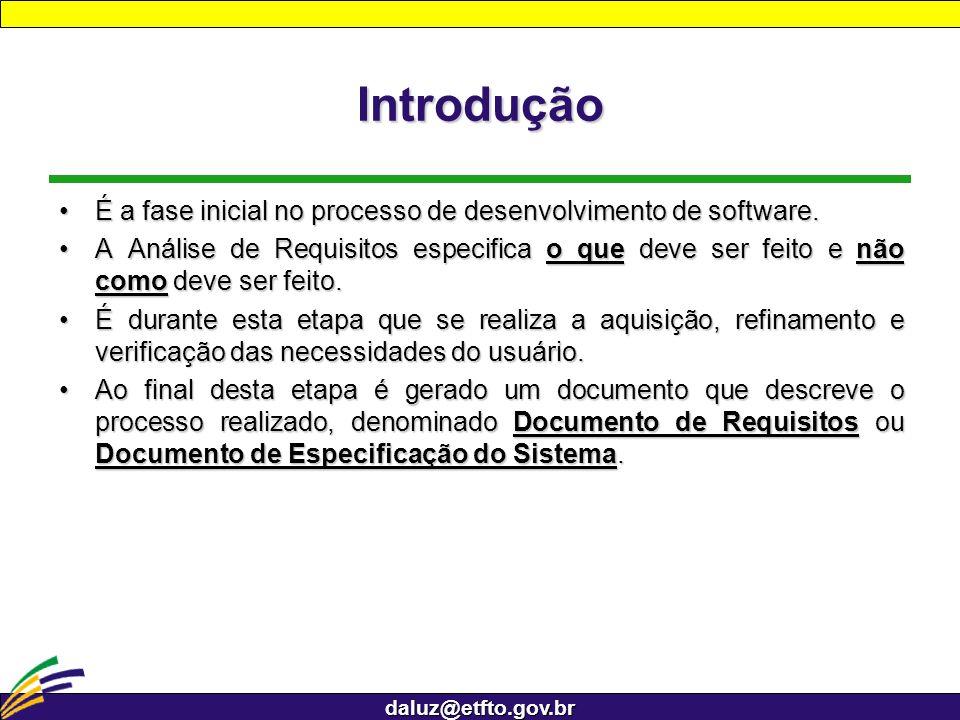 daluz@etfto.gov.br Introdução É a fase inicial no processo de desenvolvimento de software.É a fase inicial no processo de desenvolvimento de software.