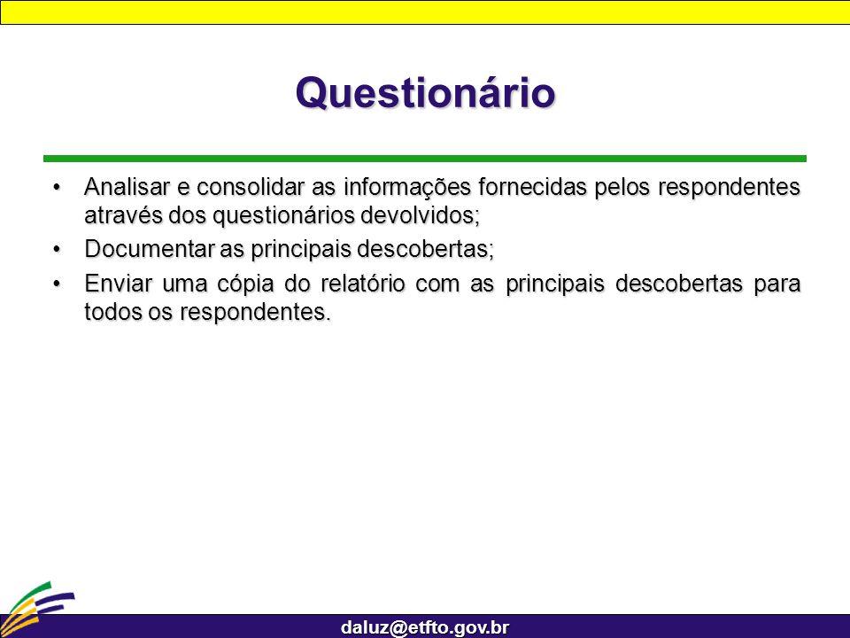 daluz@etfto.gov.br Questionário Analisar e consolidar as informações fornecidas pelos respondentes através dos questionários devolvidos;Analisar e con
