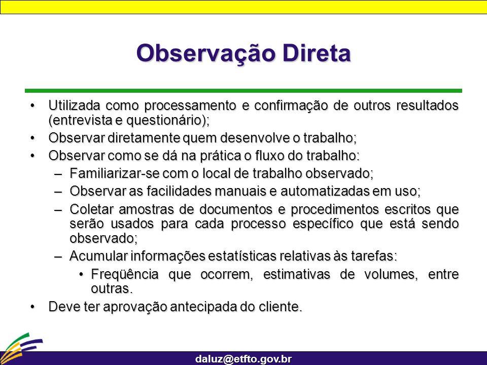 daluz@etfto.gov.br Observação Direta Utilizada como processamento e confirmação de outros resultados (entrevista e questionário);Utilizada como proces
