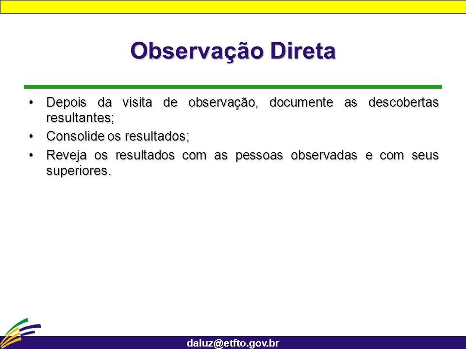 daluz@etfto.gov.br Observação Direta Depois da visita de observação, documente as descobertas resultantes;Depois da visita de observação, documente as