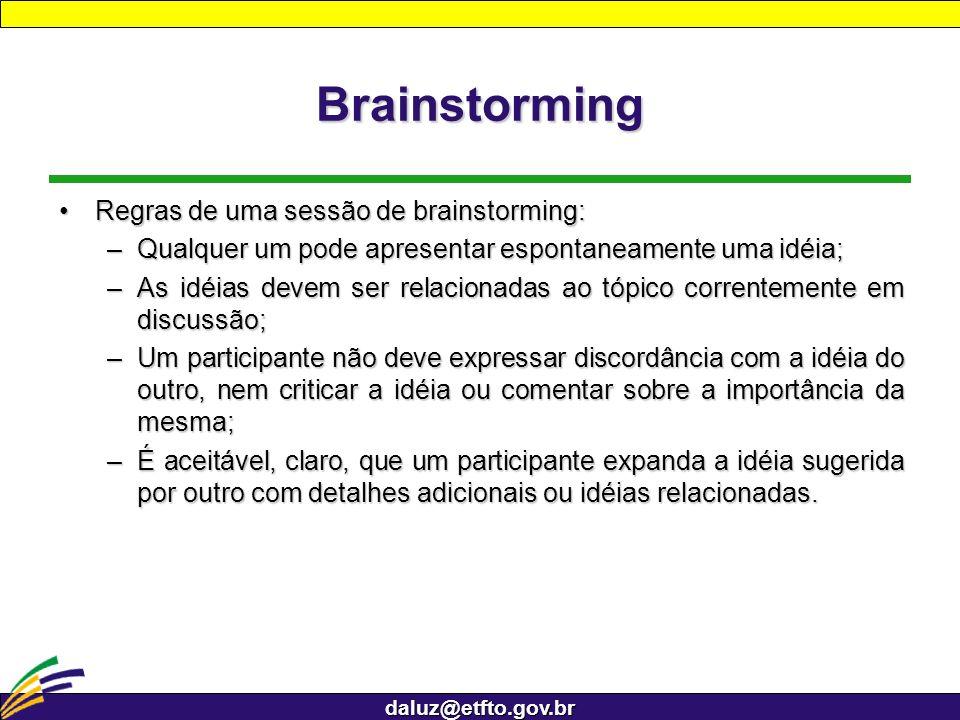 daluz@etfto.gov.br Brainstorming Regras de uma sessão de brainstorming:Regras de uma sessão de brainstorming: –Qualquer um pode apresentar espontaneam