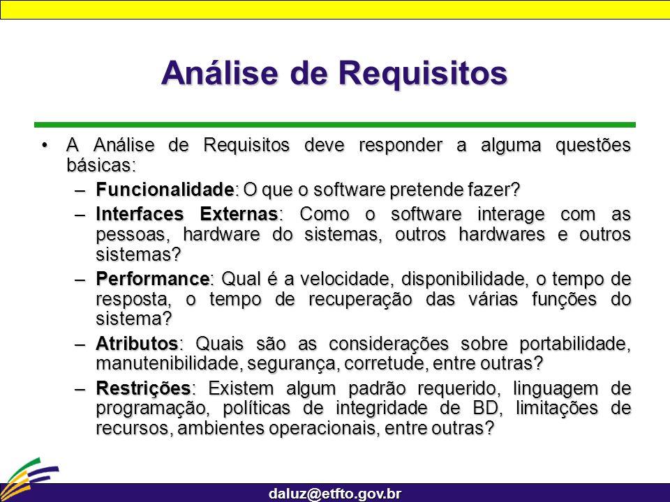 daluz@etfto.gov.br Análise de Requisitos A Análise de Requisitos deve responder a alguma questões básicas:A Análise de Requisitos deve responder a alg