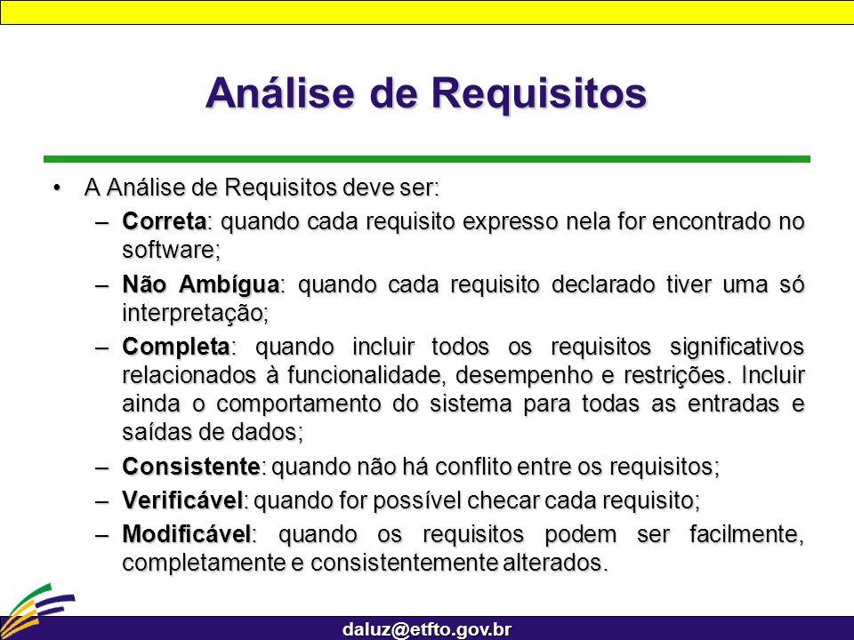 daluz@etfto.gov.br Análise de Requisitos A Análise de Requisitos deve ser:A Análise de Requisitos deve ser: –Correta: quando cada requisito expresso n