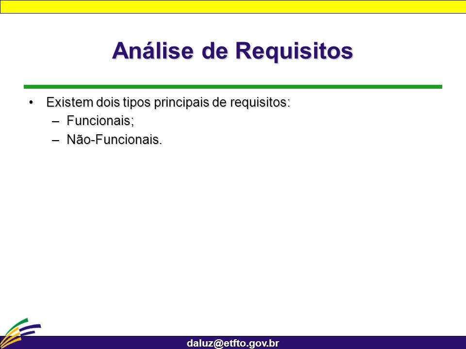 daluz@etfto.gov.br Análise de Requisitos Existem dois tipos principais de requisitos:Existem dois tipos principais de requisitos: –Funcionais; –Não-Fu