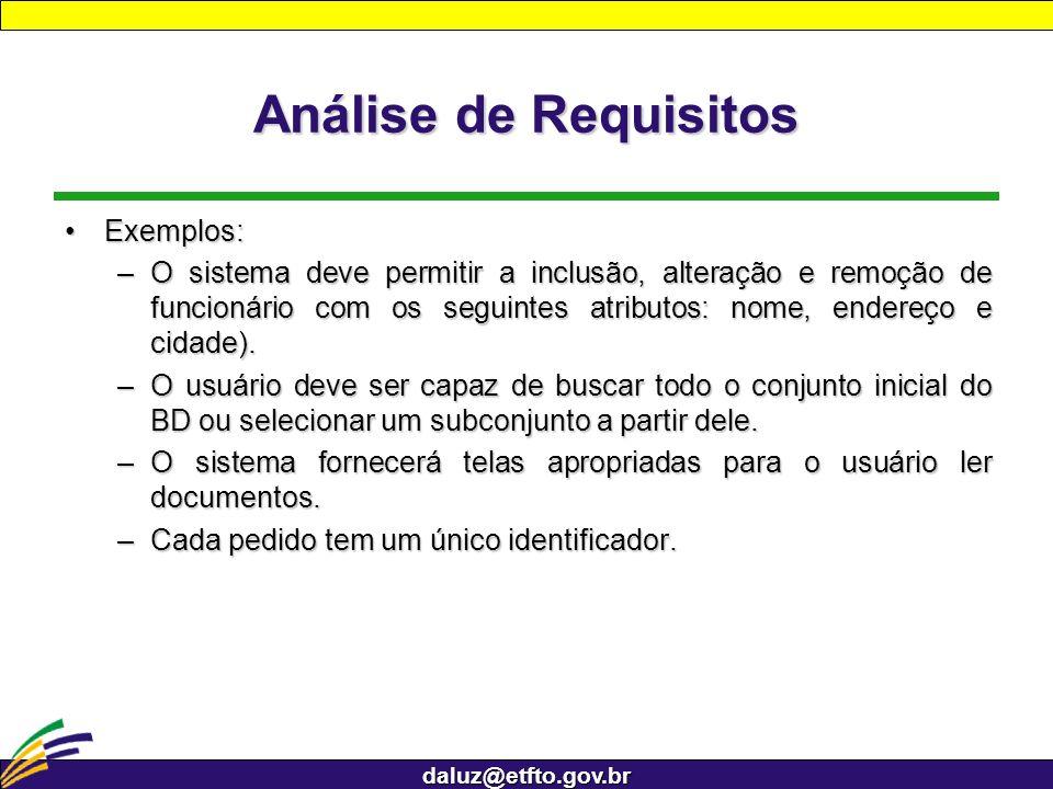 daluz@etfto.gov.br Análise de Requisitos Exemplos:Exemplos: –O sistema deve permitir a inclusão, alteração e remoção de funcionário com os seguintes a