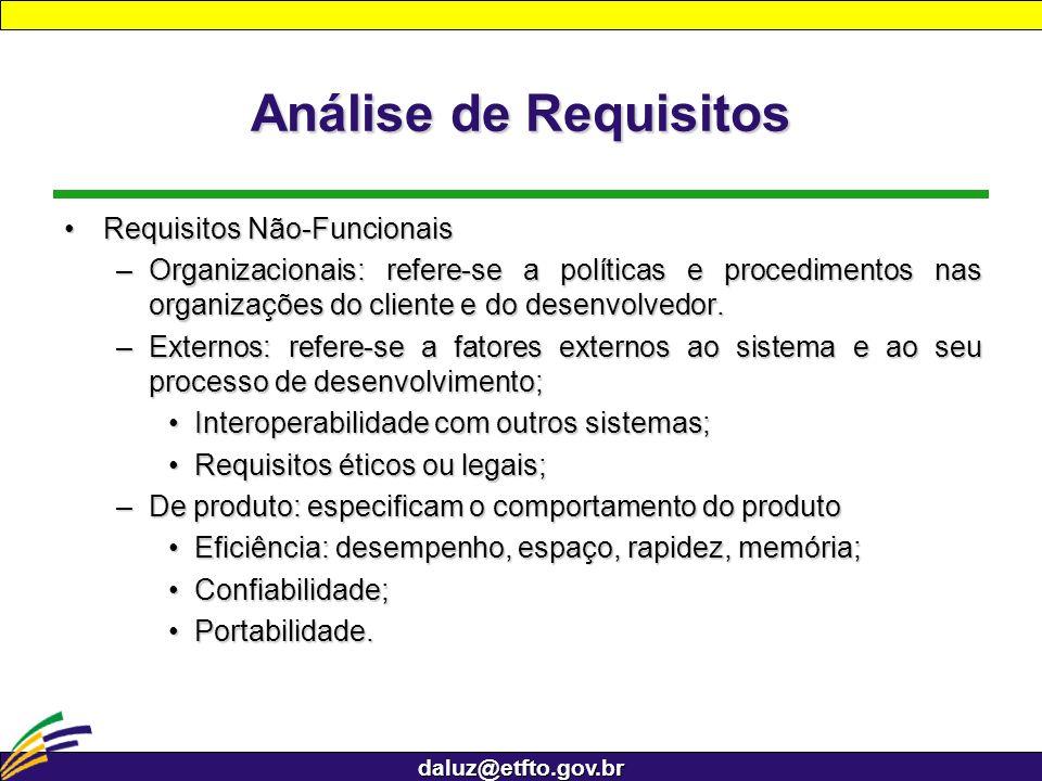 daluz@etfto.gov.br Análise de Requisitos Requisitos Não-FuncionaisRequisitos Não-Funcionais –Organizacionais: refere-se a políticas e procedimentos na