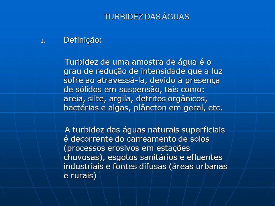 TURBIDEZ DAS ÁGUAS 1. Definição: Turbidez de uma amostra de água é o grau de redução de intensidade que a luz sofre ao atravessá-la, devido à presença