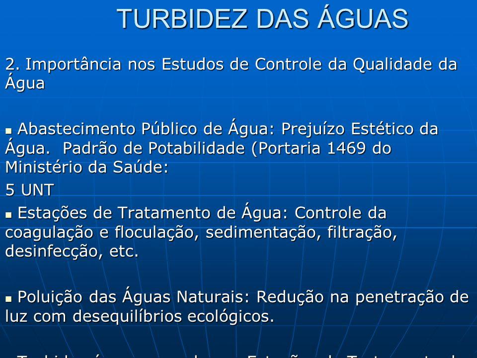 TURBIDEZ DAS ÁGUAS 2. Importância nos Estudos de Controle da Qualidade da Água Abastecimento Público de Água: Prejuízo Estético da Água. Padrão de Pot
