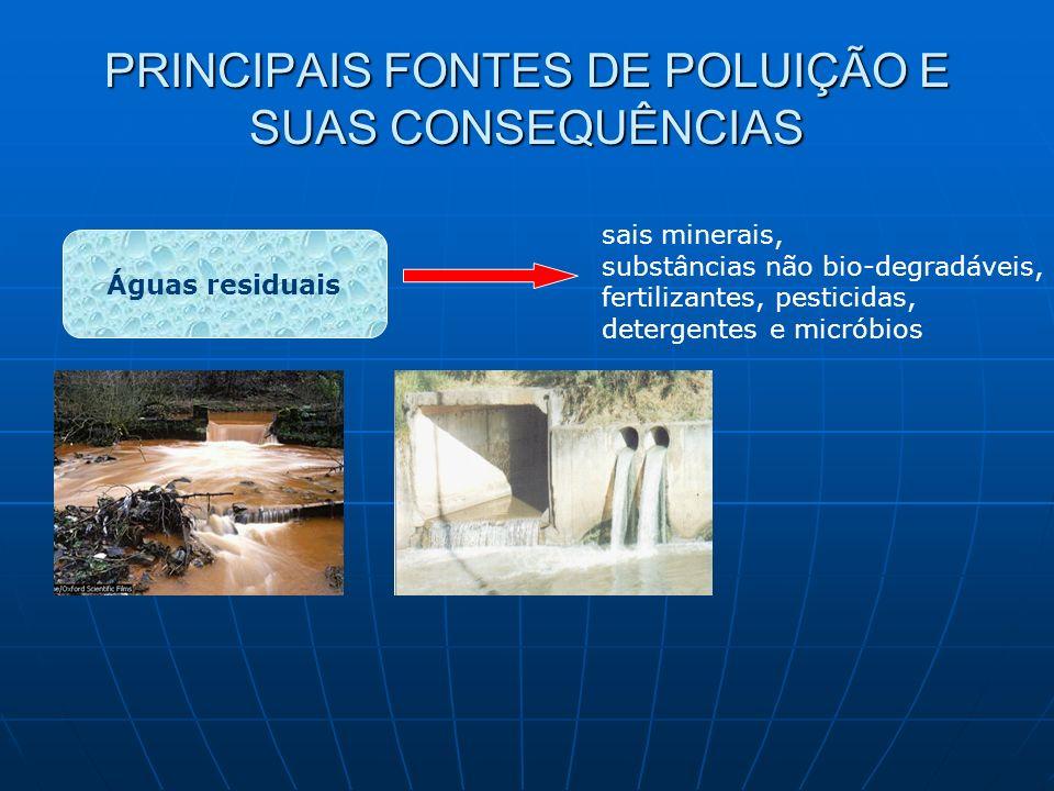 PRINCIPAIS FONTES DE POLUIÇÃO E SUAS CONSEQUÊNCIAS Águas residuais sais minerais, substâncias não bio-degradáveis, fertilizantes, pesticidas, detergen