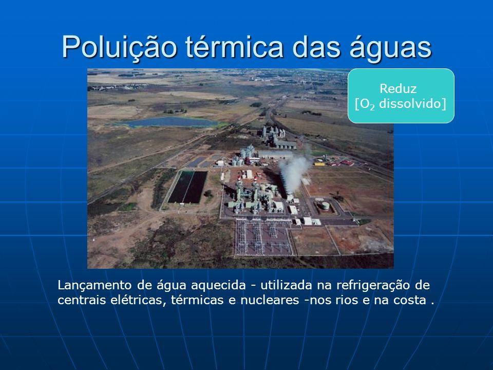 Poluição térmica das águas Lançamento de água aquecida - utilizada na refrigeração de centrais elétricas, térmicas e nucleares -nos rios e na costa. R
