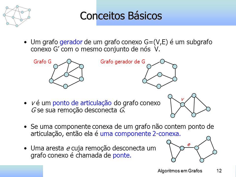 12Algoritmos em Grafos Um grafo gerador de um grafo conexo G=(V,E) é um subgrafo conexo G com o mesmo conjunto de nós V. Conceitos Básicos v e Grafo G