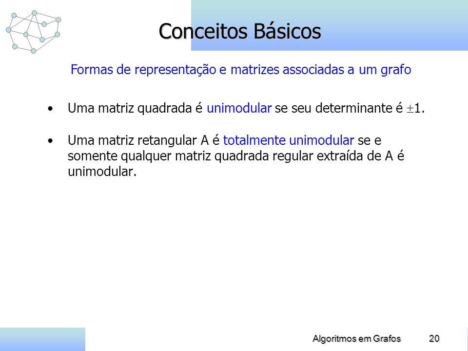 20Algoritmos em Grafos Conceitos Básicos Uma matriz quadrada é unimodular se seu determinante é 1. Uma matriz retangular A é totalmente unimodular se