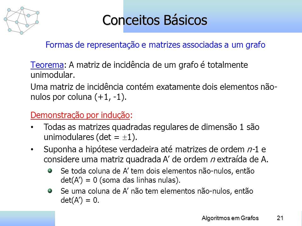 21Algoritmos em Grafos Conceitos Básicos Teorema: A matriz de incidência de um grafo é totalmente unimodular. Uma matriz de incidência contém exatamen