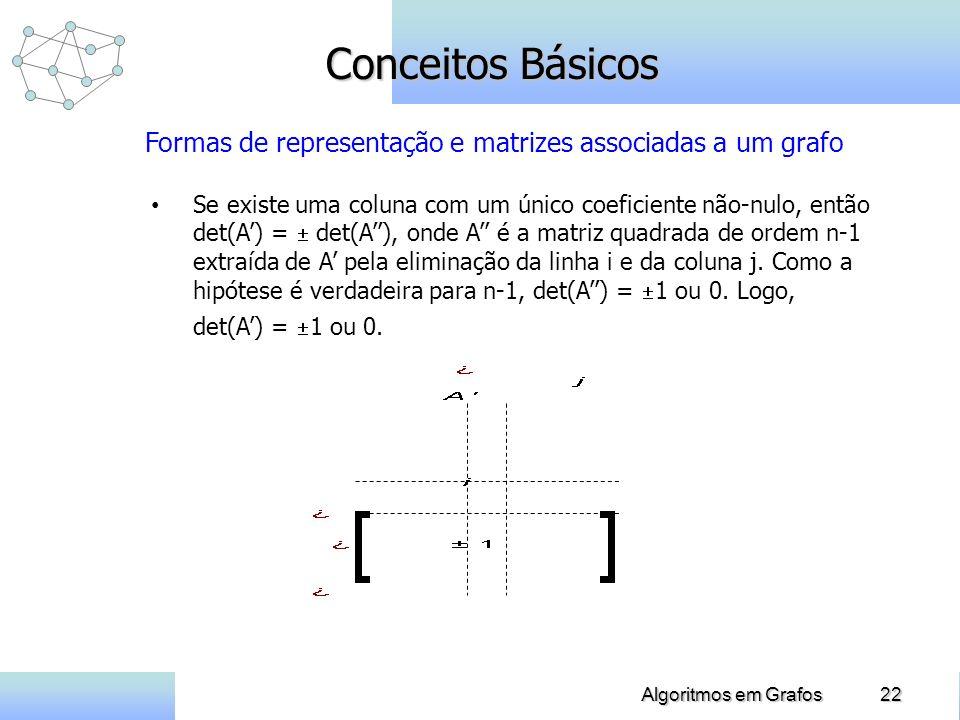 22Algoritmos em Grafos Conceitos Básicos Se existe uma coluna com um único coeficiente não-nulo, então det(A) = det(A), onde A é a matriz quadrada de ordem n-1 extraída de A pela eliminação da linha i e da coluna j.