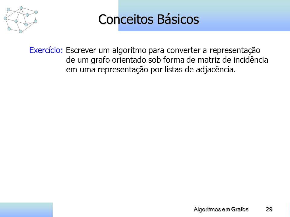 29Algoritmos em Grafos Conceitos Básicos Exercício: Escrever um algoritmo para converter a representação de um grafo orientado sob forma de matriz de incidência em uma representação por listas de adjacência.