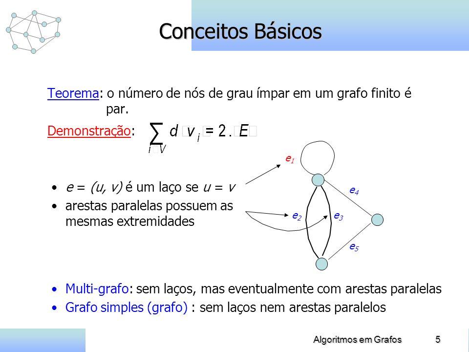 5Algoritmos em Grafos Conceitos Básicos Teorema: o número de nós de grau ímpar em um grafo finito é par. Demonstração: e5e5 e4e4 e2e2 e3e3 e1e1 e = (u