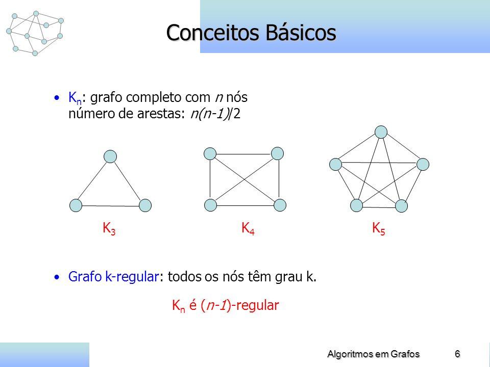 6Algoritmos em Grafos Conceitos Básicos K n : grafo completo com n nós número de arestas: n(n-1)/2 Grafo k-regular: todos os nós têm grau k. K3K3 K4K4