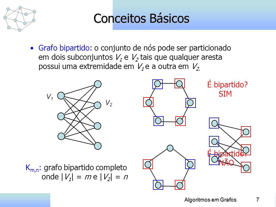 7Algoritmos em Grafos Conceitos Básicos Grafo bipartido: o conjunto de nós pode ser particionado em dois subconjuntos V 1 e V 2 tais que qualquer aresta possui uma extremidade em V 1 e a outra em V 2.