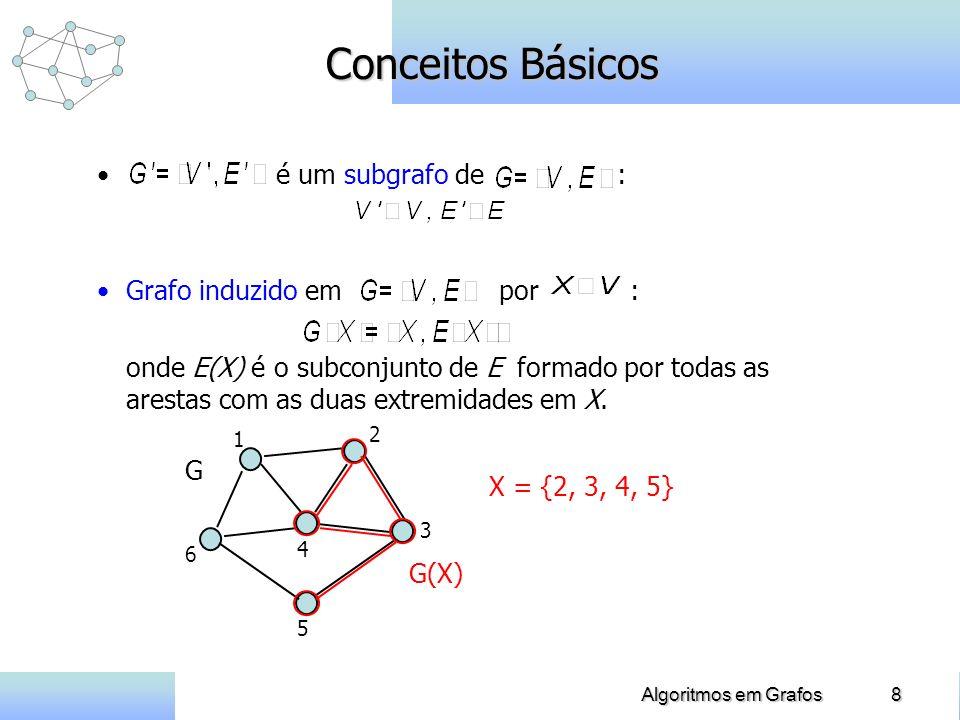 8Algoritmos em Grafos Conceitos Básicos é um subgrafo de : Grafo induzido em por : onde E(X) é o subconjunto de E formado por todas as arestas com as