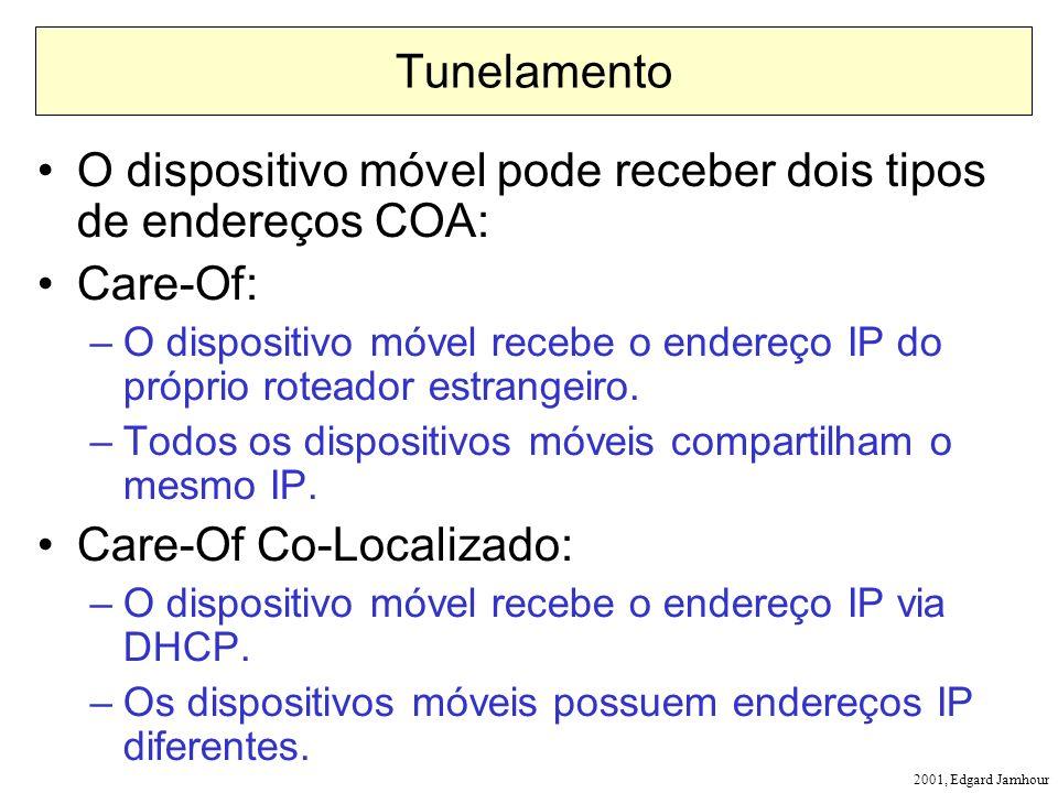 2001, Edgard Jamhour Tunelamento O dispositivo móvel pode receber dois tipos de endereços COA: Care-Of: –O dispositivo móvel recebe o endereço IP do próprio roteador estrangeiro.