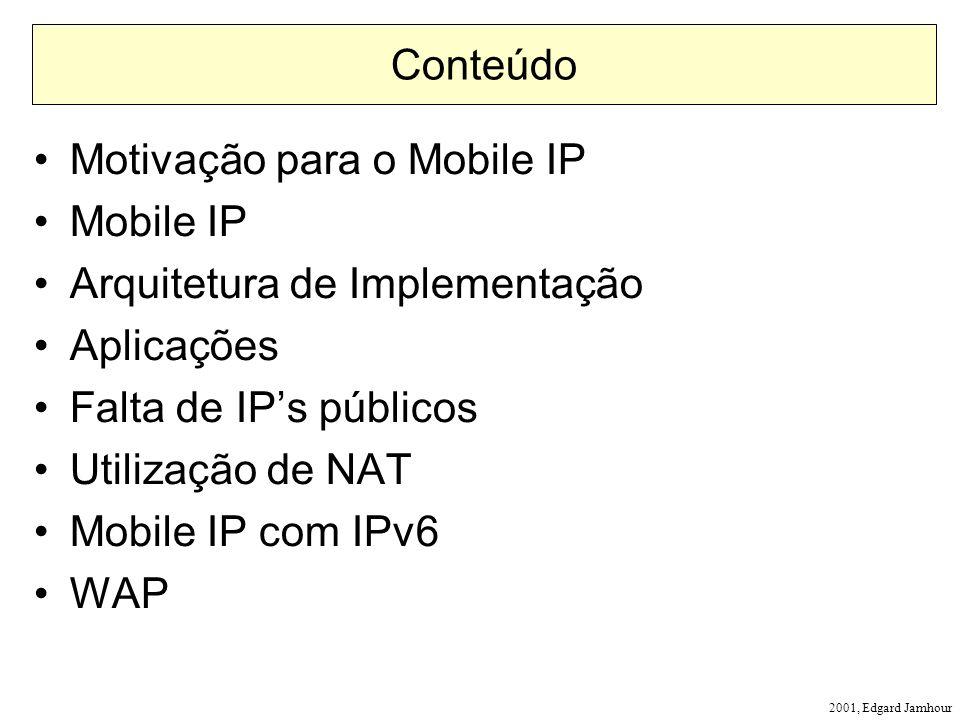 2001, Edgard Jamhour Conteúdo Motivação para o Mobile IP Mobile IP Arquitetura de Implementação Aplicações Falta de IPs públicos Utilização de NAT Mobile IP com IPv6 WAP