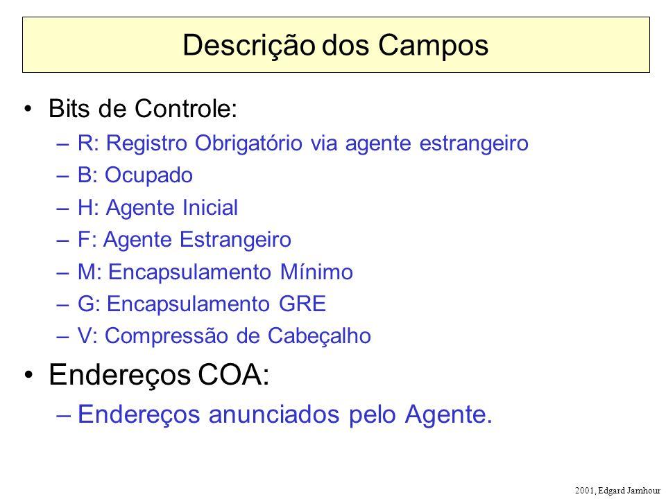 2001, Edgard Jamhour Descrição dos Campos Bits de Controle: –R: Registro Obrigatório via agente estrangeiro –B: Ocupado –H: Agente Inicial –F: Agente