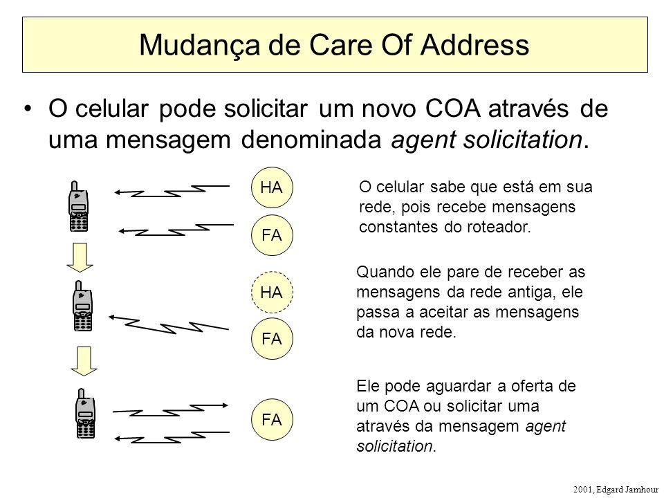 2001, Edgard Jamhour Mudança de Care Of Address O celular pode solicitar um novo COA através de uma mensagem denominada agent solicitation. HA O celul