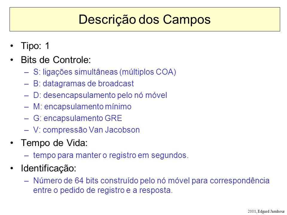2001, Edgard Jamhour Descrição dos Campos Tipo: 1 Bits de Controle: –S: ligações simultâneas (múltiplos COA) –B: datagramas de broadcast –D: desencaps