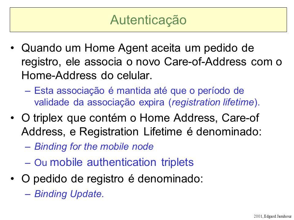 2001, Edgard Jamhour Autenticação Quando um Home Agent aceita um pedido de registro, ele associa o novo Care-of-Address com o Home-Address do celular.