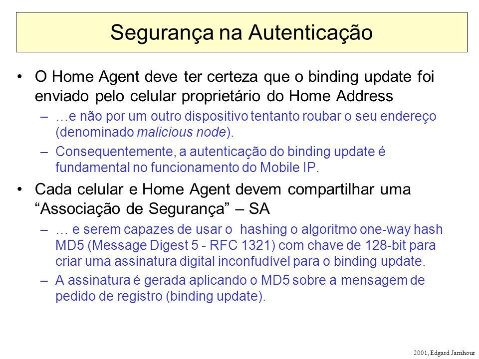2001, Edgard Jamhour Segurança na Autenticação O Home Agent deve ter certeza que o binding update foi enviado pelo celular proprietário do Home Address –…e não por um outro dispositivo tentanto roubar o seu endereço (denominado malicious node).