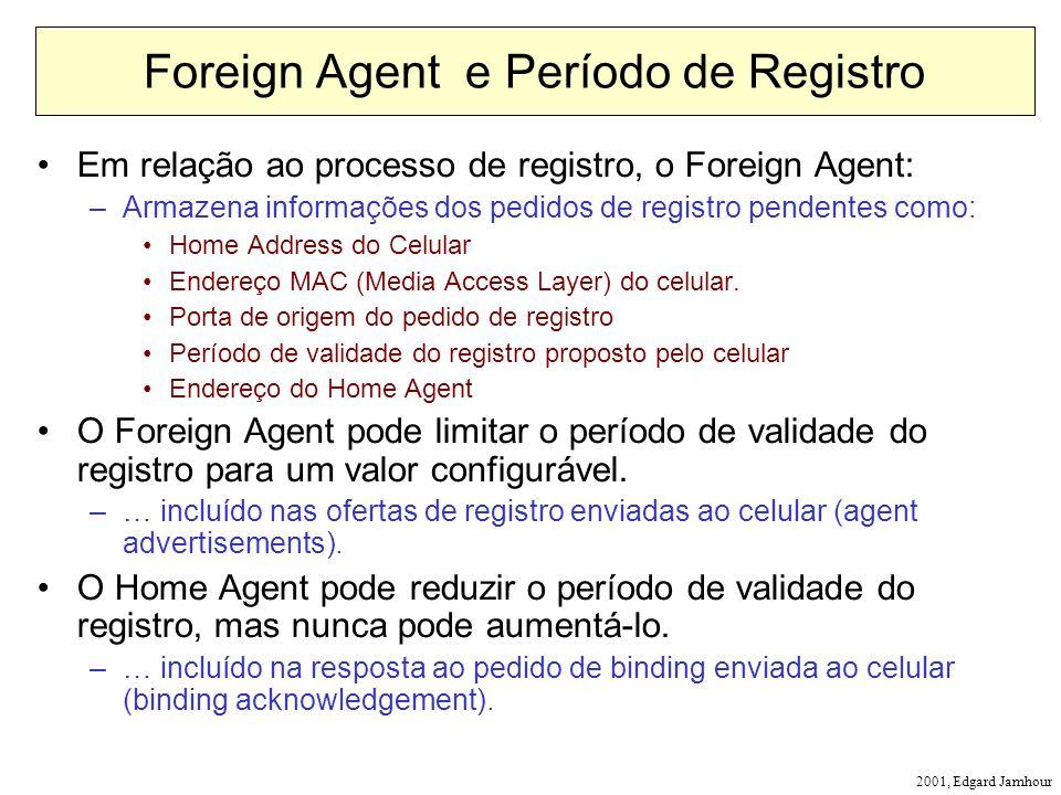 2001, Edgard Jamhour Foreign Agent e Período de Registro Em relação ao processo de registro, o Foreign Agent: –Armazena informações dos pedidos de registro pendentes como: Home Address do Celular Endereço MAC (Media Access Layer) do celular.