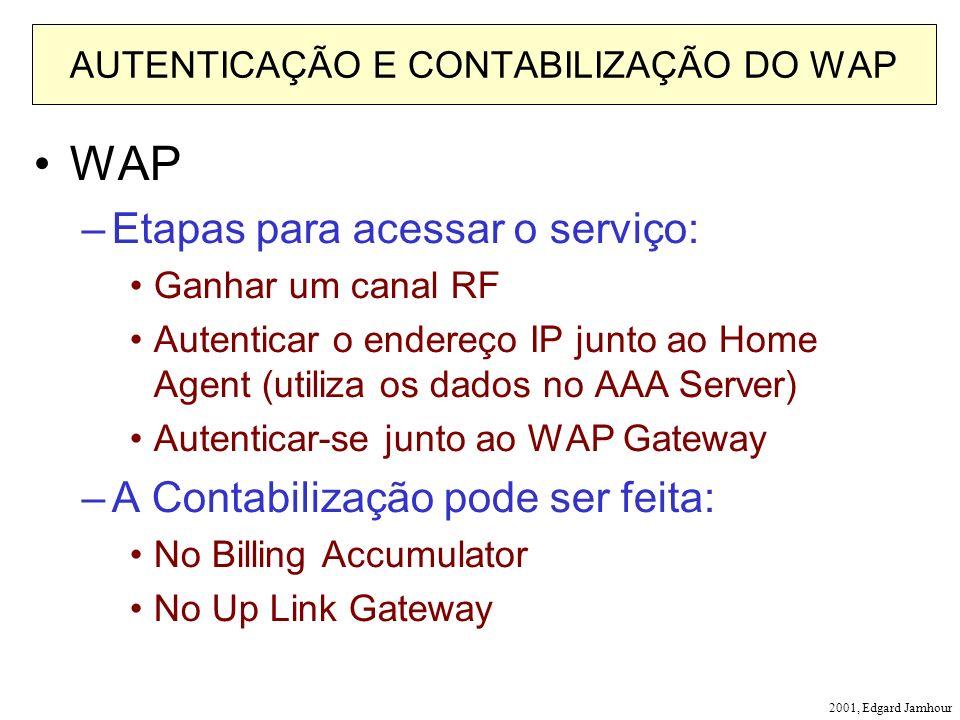 2001, Edgard Jamhour AUTENTICAÇÃO E CONTABILIZAÇÃO DO WAP WAP –Etapas para acessar o serviço: Ganhar um canal RF Autenticar o endereço IP junto ao Home Agent (utiliza os dados no AAA Server) Autenticar-se junto ao WAP Gateway –A Contabilização pode ser feita: No Billing Accumulator No Up Link Gateway