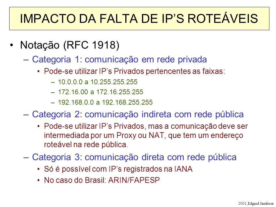 2001, Edgard Jamhour IMPACTO DA FALTA DE IPS ROTEÁVEIS Notação (RFC 1918) –Categoria 1: comunicação em rede privada Pode-se utilizar IPs Privados pertencentes as faixas: –10.0.0.0 a 10.255.255.255 –172.16.00 a 172.16.255.255 –192.168.0.0 a 192.168.255.255 –Categoria 2: comunicação indireta com rede pública Pode-se utilizar IPs Privados, mas a comunicação deve ser intermediada por um Proxy ou NAT, que tem um endereço roteável na rede pública.