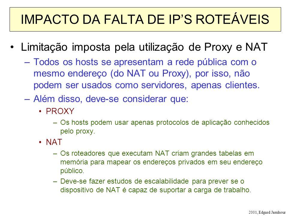 2001, Edgard Jamhour IMPACTO DA FALTA DE IPS ROTEÁVEIS Limitação imposta pela utilização de Proxy e NAT –Todos os hosts se apresentam a rede pública com o mesmo endereço (do NAT ou Proxy), por isso, não podem ser usados como servidores, apenas clientes.