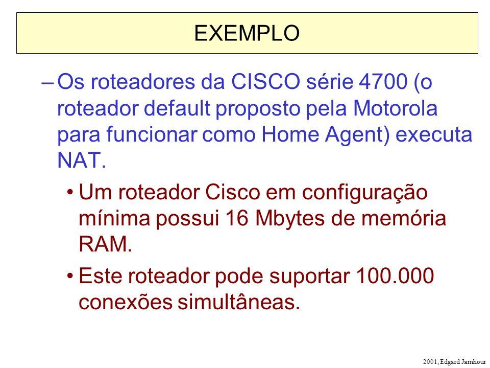 2001, Edgard Jamhour EXEMPLO –Os roteadores da CISCO série 4700 (o roteador default proposto pela Motorola para funcionar como Home Agent) executa NAT.