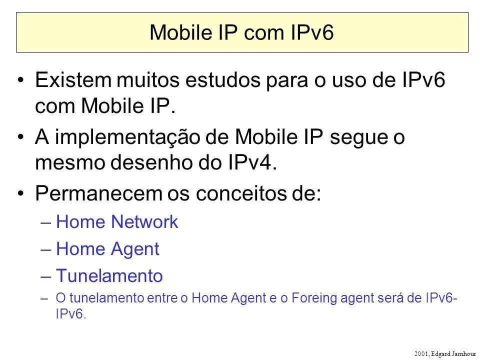2001, Edgard Jamhour Mobile IP com IPv6 Existem muitos estudos para o uso de IPv6 com Mobile IP. A implementação de Mobile IP segue o mesmo desenho do